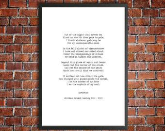 William Henley 'Invictus - Master of my Fate' Inspirational Printable Poem Instant Download Motivational Poetry Graduation Gift Instant Art