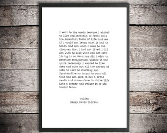 Henry David Thoreau Hand Typed Printable Quote 'Walden - I Went to the Woods' Instant Download Digital Poster Print Dead Poets Society