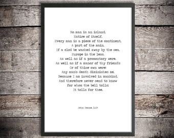 John Donne Printable Poetry 'No Man is an Island' Instant Download Print Inspirational Poem Hand Typed Poster Graduation Gift Brexit Poem