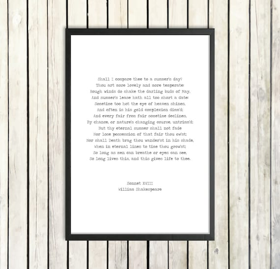William Shakespeare Printable Love Poem Sonnet Xviii Instant Download Romantic Gift Literature Poster Shall I Compare Thee Summer Print