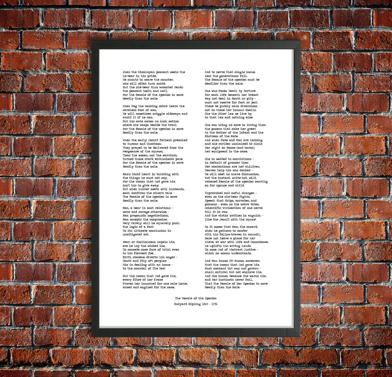 Rudyard Kipling Printable Poem 'The Female Of The Species' Instant Download  Wedding Speech Victorian Literature Poetry Poster Instant Gift
