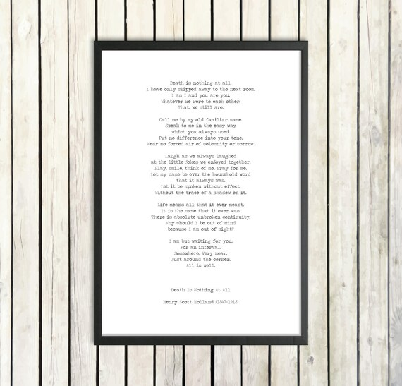 Henry Scott Holland All Is Well Instant Download Printable Poem Bereavement Print Sympathy Gift Death Is Nothing Funeral Reading Eulogy