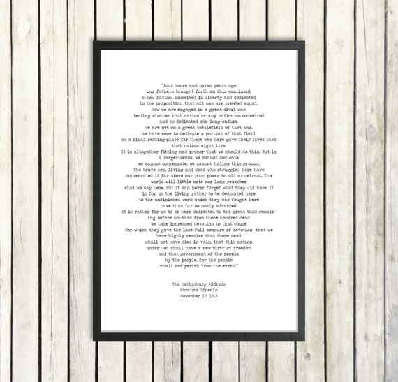 Abraham Lincoln Inspirational Speech Printable Quote The Gettysburg Address Instant Download American History President Quote Poster Print