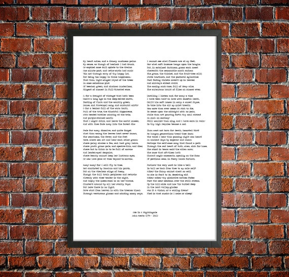 John Keats Printable Poem Ode To A Nightingale Instant Download English Poetry Classic Literature Art Print Romantic Poet Victorian Author