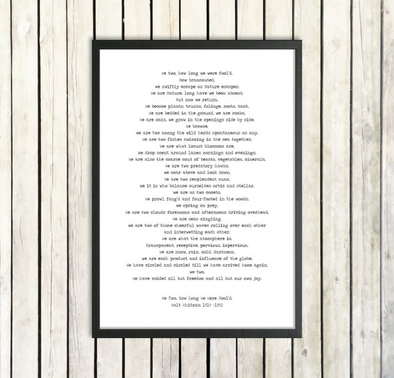Walt Whitman Printable Poem We Two Instant Download Nature Poetry Poster Leaves Of Grass Environment Print Naturalist Poem Love Poetry