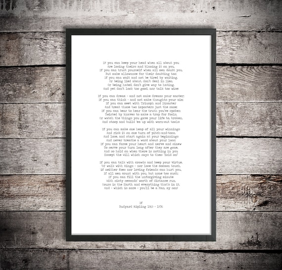 Rudyard Kipling Instant Download If You Will Be A Man My Son Printable Poem Graduation Gift Wedding Gift Inspirational Poetry Print