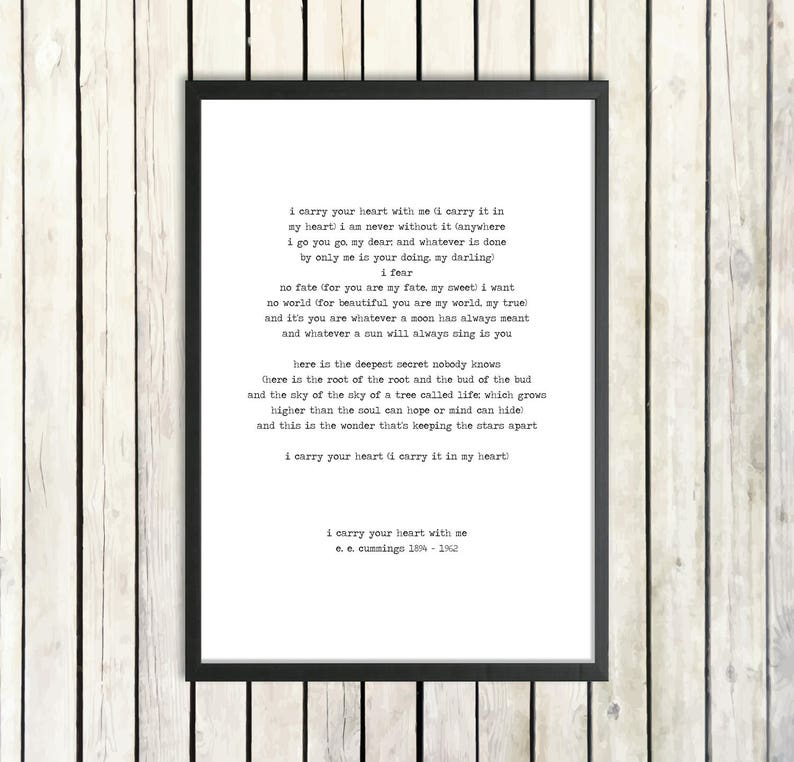 cfeb407d950ab E E Cummings 'I Carry Your Heart' Hand Typed Printable Poetry Download  Romantic Gift Love Poster Instant Download Love Poem Literature Gift