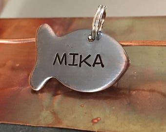Cat Tag | Fish Cat Tag | Custom Cat Tag | Personalized Cat Tag | Cat Kitten Name Tag | Cat ID Tag | Small Cat Tag | Copper Cat Tag | Pet Tag