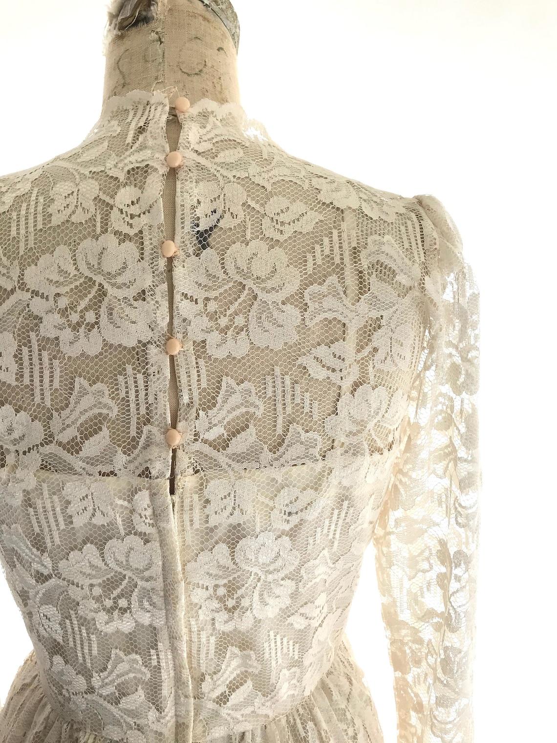 70s ivory lace dress
