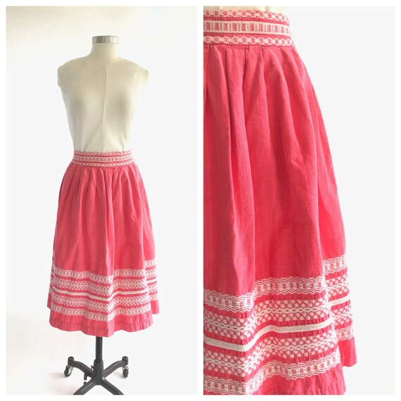70s pink embroidered skirt