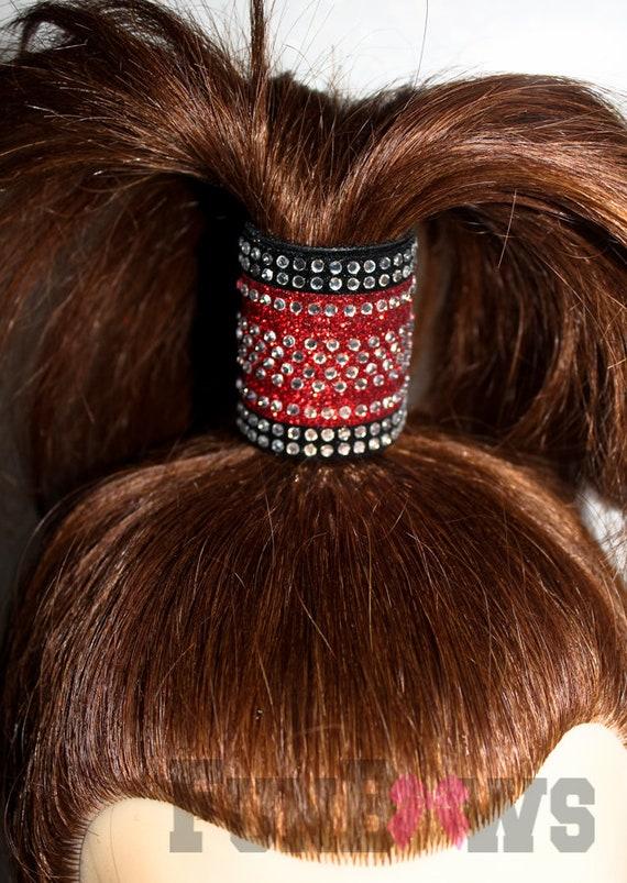 cheer rhinestone hair cuff Bling hair cuff Rhinestone ponty tail Dance hair cuff Competition hair cuff Full rhinestone hair cuff