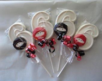 Ninja Number 6 Lollipop with a ninja mask