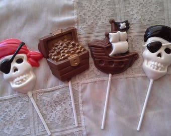 Pirate Themed Lollipops skull pirate, ship, chest of gold