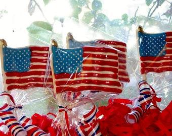 Chocolate American Flag Lollipops