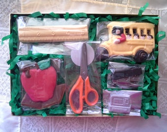 Chocolate  School Themed Set 7 hand painted pieces,  back to school, teacher gift