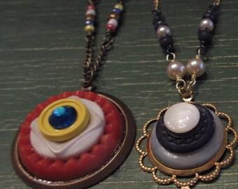 Large vintage button necklace