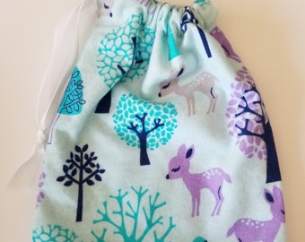 Purple Blue and Teal Woodland Deer Drawstring Bag