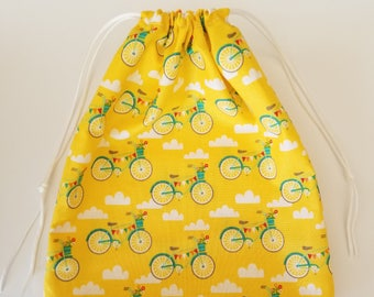 Yellow Bicycle Small Drawstring Bag