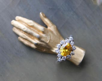 Vintage Citrine Ring, Antique Rhinestone Ring, Sterling Silver Ring, Costume Jewelry, Antique Setting Ring, Size 8, Cocktail Ring