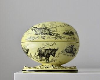 Mottahedeh Easter Egg, Transferware Easter Egg, Yellow Toile Egg, Mottahedeh Italy, Italian Porcelain Dish, Vintage Transferware Dish