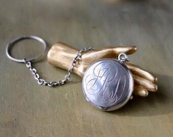 Sterling Silver Rosary Locket, Monogrammed Silver Locket, Antique Silver Locket, Monogrammed Rosary Locket, Catholic Church, MRD Monogram