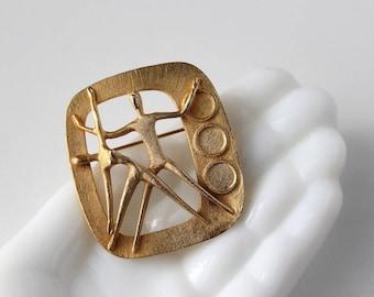Herbert Zeitner Modernist Brooch, 1975 Berlin Gymnaestrada, BH Mayer Pforzheim Germany, MCM Jewelry