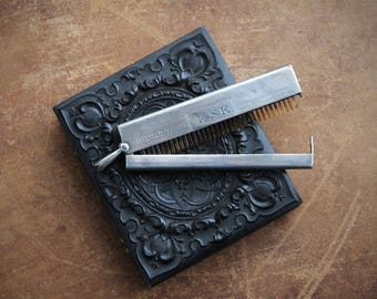 Antique mustache comb, Sterling silver mustache comb,  Monogrammed mustache comb, Men's grooming antiques, Engraved mustache comb