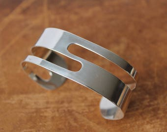 Modernist silver cuff bracelet, Silver Laton cuff, Laton silver bracelet, Vintage modern bracelet, Geometric bracelet, Gifts under 50