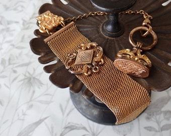 Antique ladies pocket watch fob, Monogrammed seal, Gold filled mesh slider, Initials JWG, Antique watch fobs, Victorian jewelry supplies