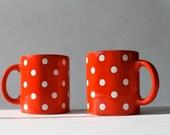 Vintage Waechtersbach Polka Dot Mugs, West German Pottery, Set of 2