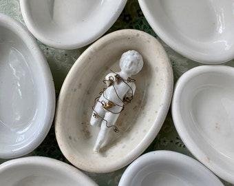 White ironstone ovals, Chunky ironstone bowls, Ironstone soap dishes, Stained ironstone, English ironstone
