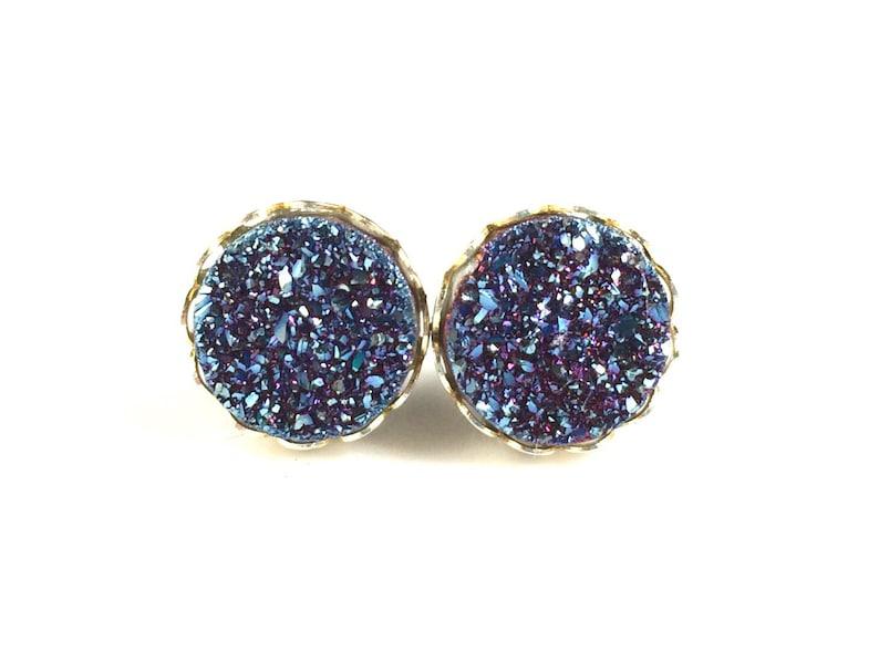 Sale Aqua Blue Druzy Stud Earring Real Druzy Quartz Gemstone Gold Bezel 8mm