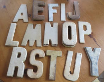 vintage metal letters old marquee advertising sign letters rusty metal chippy paint industrial craft repurpose chippy paint signage