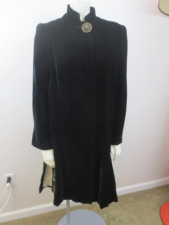 Vintage 40s Velvet COAT / Art Deco 30s Black Velve