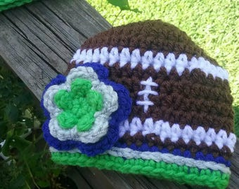 8d8cc686f54 Seattle Seahawks Baby Hat Preemie to extra small newborn size with flower  ready to ship! Custom order available. Cute baby gift item!