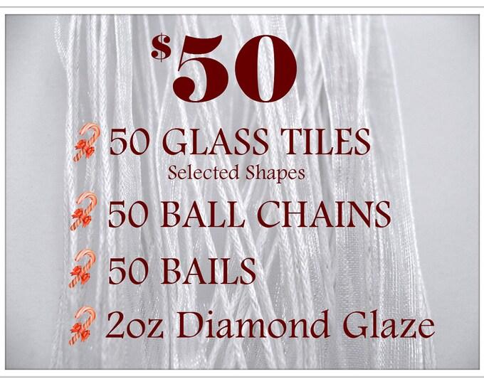 BEST DEAL..50pk...50 Glass tiles, 50 Bails, 50 Chains, and 2oz Diamond Glaze