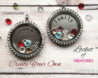 30mm...Floating Memory Stainless Steel Locket Necklace....Comes with Stamped Plate, Charm and Birthstones..Living Locket, Glass Locket