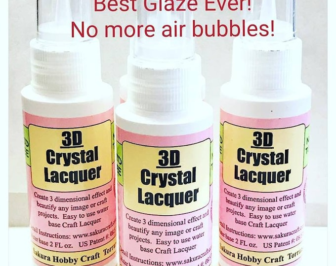 BEST Glaze...2oz...3D Crystal Lacquer...Great for your glass tile pendants, Scrabble tiles, and art projects...Better than Diamond Glaze