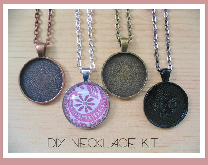 25pc..DIY Necklace Kit..25mm...Includes; Pendant Trays, Glass Tiles, and Chains..Mix and Match color trays.