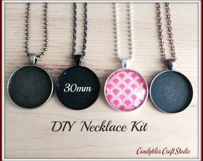 100pc..DIY Circle Pendant Tray Necklace Kit..30mm...includes chains, glass Inserts,  trays..Mix and Match color trays.