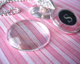 50...30mm Circle Glass Tiles...Cabochon...Great for Pendant Trays and Magnets