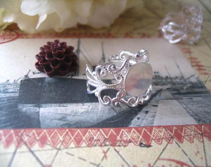 10 Silver Filigree Ring Pad...Adjustable Rings...FRP
