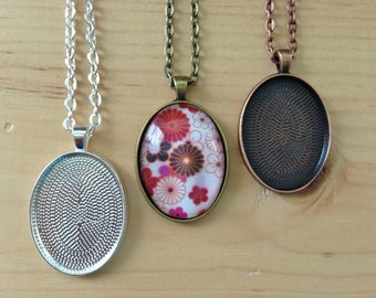 10 Oval Pendant Trays...22 x 30mm.. Mix and Match Colors