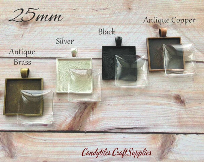 5pk...25mm Square Pendant Trays with Glass Inserts....MIX and MATCH. Trays and glass are 1 inch...SPT