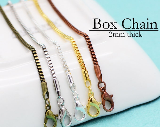 10pk....2mm Box Chain Style Necklaces....Wholesale...Mixed Colors