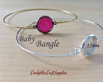 2pc...The Baby Bangle... 12mm Bezel Bangle Bracelet...Glass Tiles Cabochons included