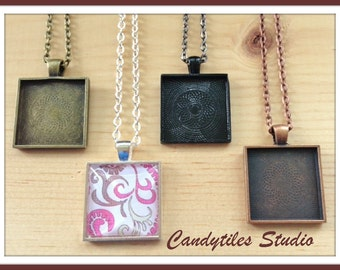 5pc..DIY Square Pendant Tray Necklace Kit..includes chains, glass Inserts,  trays..Mix and Match color trays.