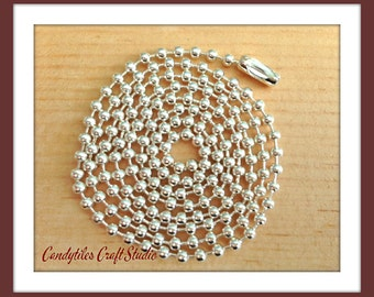 5pc...2.4mm High Quality Silver Ball Chains. Great for pendants, Cabochons, Scrabble and Glass Tiles.