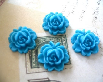 4pc Turquoise 18mm Rose Resin Flower Cabochons.