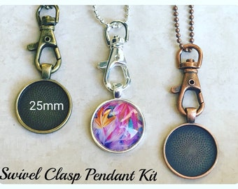 10pk...Necklace Kit...Swivel Clasp, chains, glass and pendant trays included